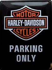 PLAQUE METAL vintage HARLEY DAVIDSON parking only - 40 x 30 cm