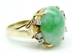 GORGEOUS Solid 14k Yellow Gold / Jade / Diamonds Ladies Ring Size 6.5