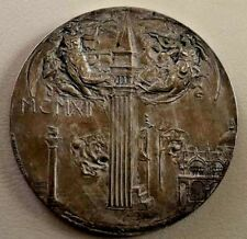 VENEZIA Italy ST. MARK'S Campanile 1912 Nude ART NOUVEAU Bronze Medal 60 mm N149