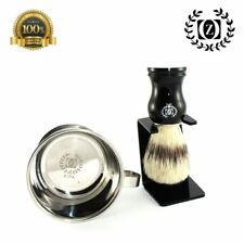BOAR BRISTLE HAIR SHAVING BRUSH, STAINLESS STEEL SHAVING CUP WITH DIP STAND