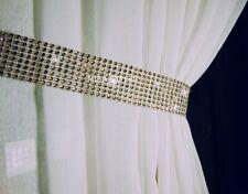 PAIR (x2) OF DIAMANTE SPARKLE CURTAINS VOILES TIE BACKS HOLD BACKS - LATTE