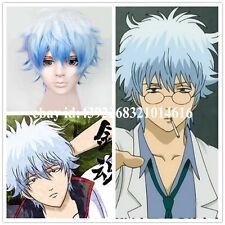 """12"""" 30cm Gintama Sakata Gintoki Light Blue Mixed White Cosplay Wig Party"""