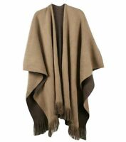 Women Knitted Cashmere Poncho Oversize Deversible Cape Shawl Sweater Ladies Coat
