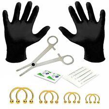 BodyJ4You 18PC Body Piercing Kit Goldtone Barbell Horseshoe Ring 14G 316L