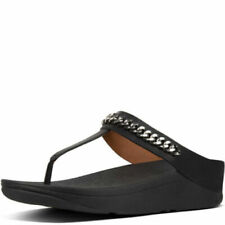 New Fitflop Fino Chain Leather Toe Post Black Smooth Ladies Sandals UK 6