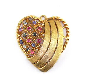 Vintage 14K Yellow Gold Sapphire Ruby Pearl BIG Heart Pendant 9.0 G