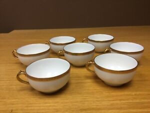 7 Vintage GOA Limoges France Coffee Cups White with Gold