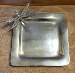 """Pewter Dragonfly Serving Platter Dish 8.75"""" x 8.75"""" Free Shipping"""