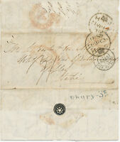 "GB 1855 stampless unpaid entire ""LONDON"" via CALAIS to France; taxed in black"