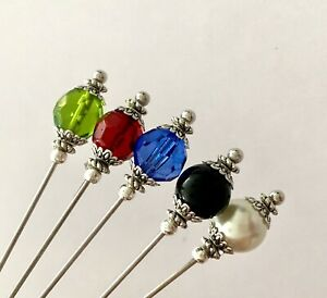 5X Hat Pins Vintage Antique Silver Style 3 inch Long Hat Pin & Protector**
