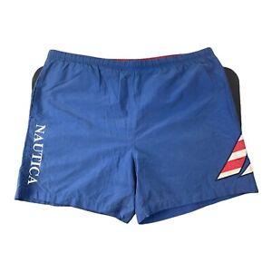 Vintage 90s Nautica Swim Trunks Swimwear Shorts Blue Green Men's Size XL