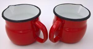 Milchkännchen gebaucht rot, emailliert, 2 Stück im Set, 0,6l