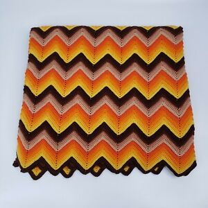 Vtg Handmade Zig Zag Chevron Color Boho 35x60 Crochet Afghan Throw Blanket READ