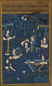 Antique Indian Mughal miniature painting c.1900