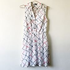 Tokito Size 8 White Sheer Sheath Dress Womens Summer Buttons Pockets Stretch