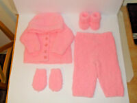 Hand Knitted Baby Jacket Hooded Cardigan Mitts Boots Trousers 0-3mnth Pink