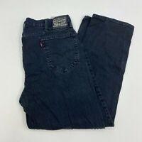 Levi Strauss Denim jeans Mens 40X30 Black Regular Straight Leg Washed 5 Pockets