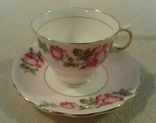 Vintage Colclough Rose bouquet pink white trimmed in gold cup & saucer set Mint