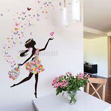 Flower & Girl Removable Wall Art Sticker Vinyl Decal DIY Room Home Mural Decor