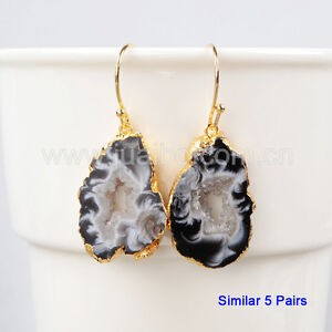 Gold Plated Raw Natural Druzy Agate Slice Gemstone Connector DIY NEW HOT GG0952