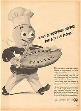1946 vintage AD BELL TELEPHONE   Cute Cartoon Phone Man Carries BIG Pie ! 112016