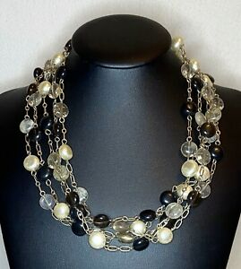 Multi Strand Choker Necklace Brown Clear Beads Faux Pearls Gold Chain Accents