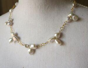 AAA Extra Luminous 10mm Keshi Pearl Station Bib Gold Necklace Handmade