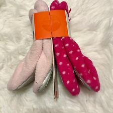 2 Slippers Light and Dark Pink Bow Accent Plush Ballet Slippers Sz 5/6