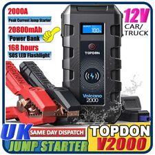 TOPDON 20800mAh 2000A 12V Car Jump Starter Power Pack Portable Battery Charger