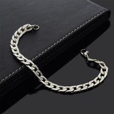Edelstahl Herren Armband Armreif Massiv Panzerarmband Silber Curb Chain 21 cm