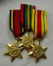 24ct Gold WW2 Campaign Medals & Ribbons 1939-1945 Burma, Africa, Pacific Star