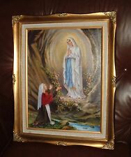 OUR LADY OF LOURDES W/ ST BERNADETTE  Wood FRAMED Print 16 x 19 3/4  NEW MARY