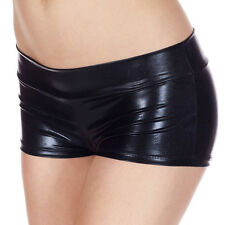 Sexy Women PVC Leather Wet Look Mini Shorts Pants Metallic Shiny Dance Clubwear