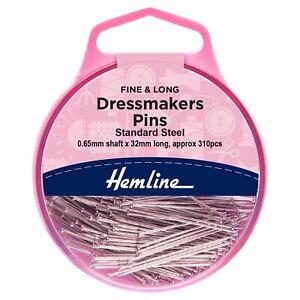 Hemline 310 Pins x 32mm Steel Dressmakers Fine Pins Dressmaking Sewing 716