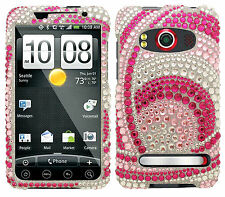 For Sprint HTC EVO 4G Crystal Diamond BLING Hard Case Phone Cover Peacock Woven