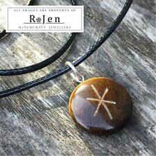 Hand Crafted Engraved Tigers Eye Nordic Stave Bind Rune STRENGTH Sigil Futhark
