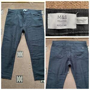 """Men's marks and spencer jeans soft feel black waist 42"""" inside leg 29""""  (82)"""
