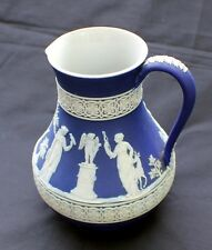 """Antique 1893 V embossed WEDGWOOD Jasperware COBALT BLUE #30 6"""" Pitcher/Jug"""