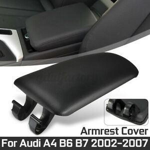 Black Leather Armrest Center Console Lid Cover For Audi A4 B6 B7 2002-2007