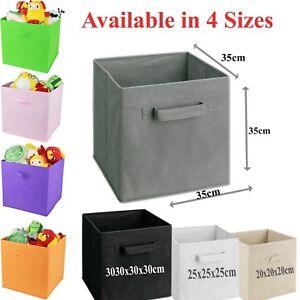 Foldable Canvas Storage Collapsible Folding Box Fabric Cube Cloth Basket Bag