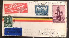 1930 Liege Belgium FFC First Flight Cover To  Paris Via SABENA Only Flown 75!