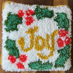 "Retro Vintage Christmas Joy Latch Hook Pillow on Yellow Corduroy Pillow ~ 15"" Sq"