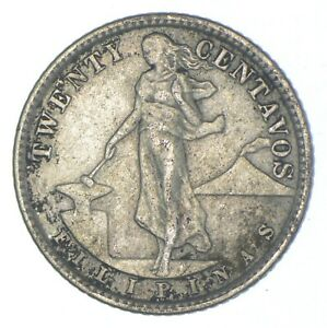 Roughly Size of Nickel 1921 Philippines 20 Centavos World Silver Coin *604