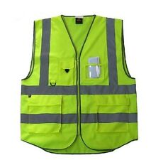 New High Visibility Safety Vest with Zipper Reflective Tape Strips 4 Pockets