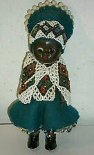50s Adorable Celluloid African Traditional Dressed Baby Hand Beaded Ethnic