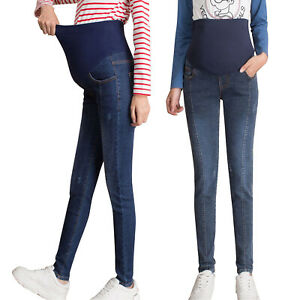 Pregnant Women Jeans Maternity Pants Slim Fit High Waist Trousers Support Belly