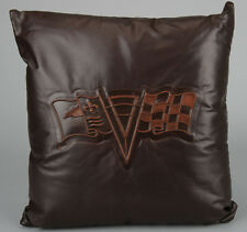 "New C2 Corvette Logo Embossed Leather Pillow - Brown 18"" x 18"""