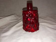 Vintage Ruby Red Diamond Bead Quilted Pattern Votive Candle Holder Sconce