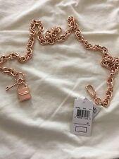 Michael Kors Chain Link Belt With Lock Key Charm #554668 M/L  Rose Gold NWT