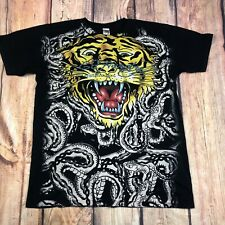 Rare Ed Hardy By Christian Audigier All Over Print Tiger Shirt Mens Size Large